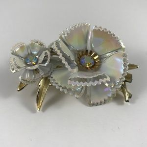 Vintage Flower Brooch, White Flower Brooch